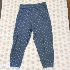 Size 8 casual blue pants with white flowers
